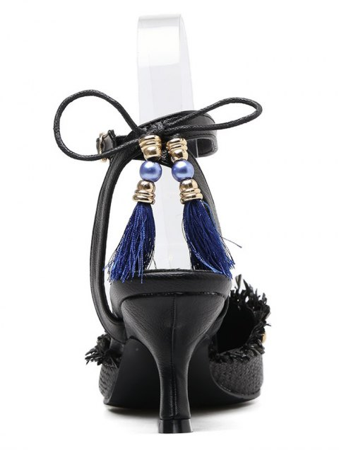 affordable Anchor Pattern Tassels Kitten Heel Pumps - BLACK 39 Mobile