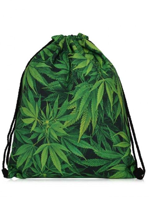 outfit Nylon Printed Drawstring Bag - GREEN  Mobile