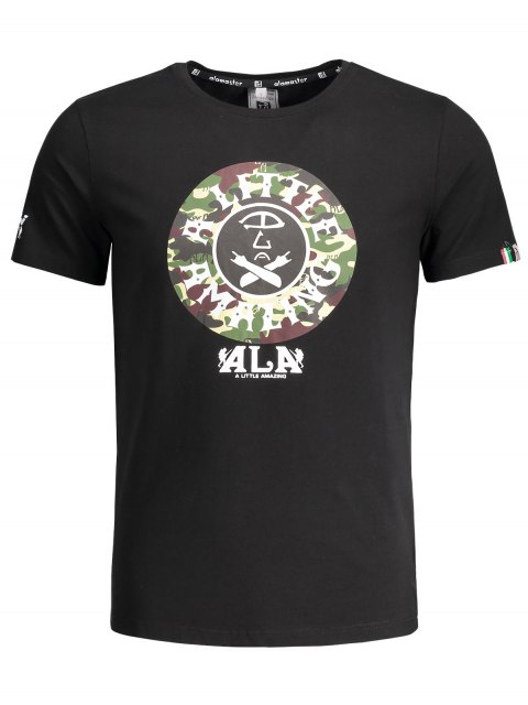 trendy Short Sleeve Camouflage Graphic Print Tee - BLACK XL Mobile