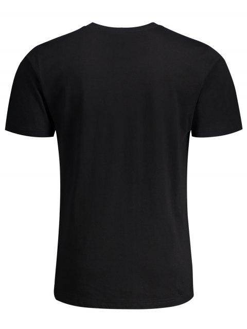 fancy Short Sleeve Pocket Patch Letter Tee - BLACK 2XL Mobile