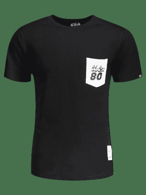 sale Short Sleeve Pocket Patch Letter Tee - BLACK L Mobile