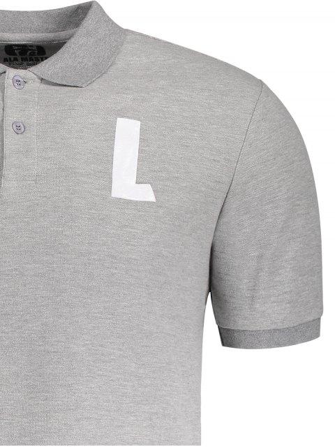 womens Shirt Neck L Pattern Short Sleeve Tee - GRAY L Mobile