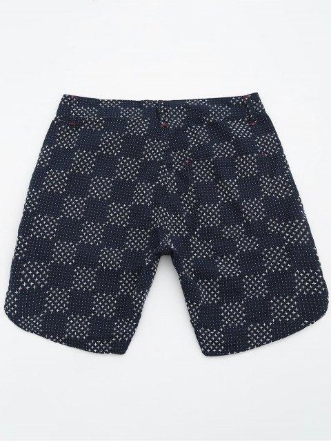 fashion Mens Embroidered Check Bermuda Shorts - DEEP BLUE 34 Mobile