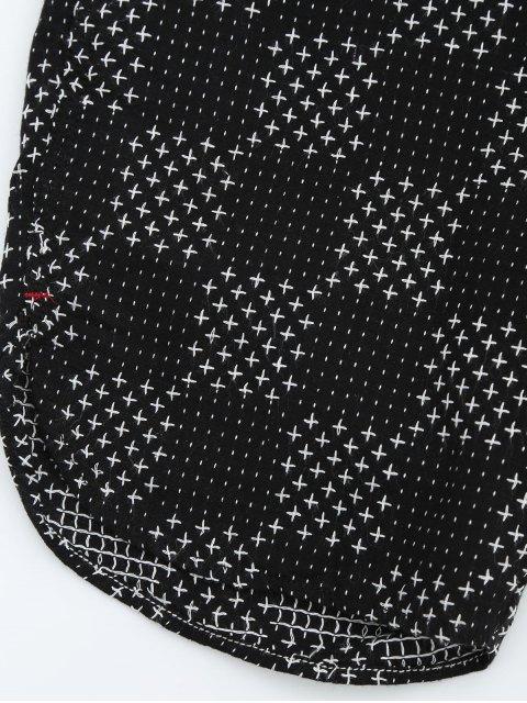 affordable Mens Embroidered Check Bermuda Shorts - BLACK 32 Mobile