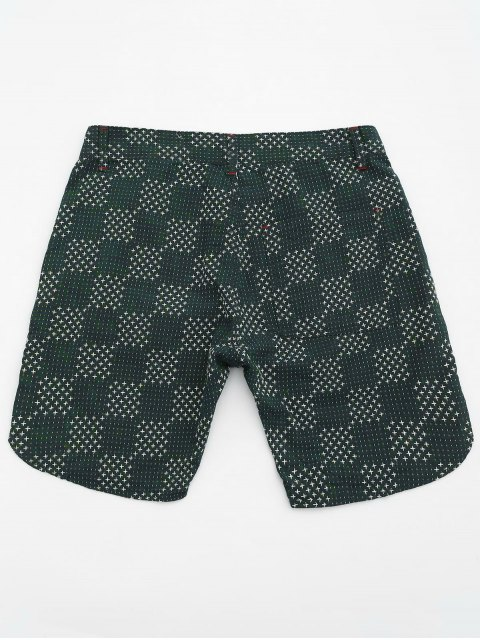 latest Mens Embroidered Cotton Bermuda Shorts - GREEN 34 Mobile