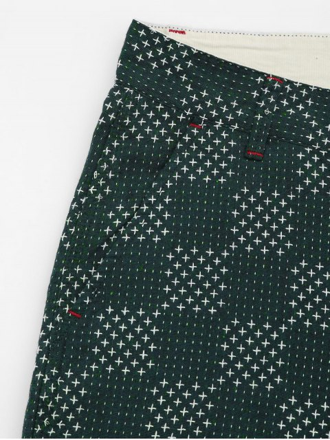 trendy Mens Embroidered Cotton Bermuda Shorts - GREEN 32 Mobile