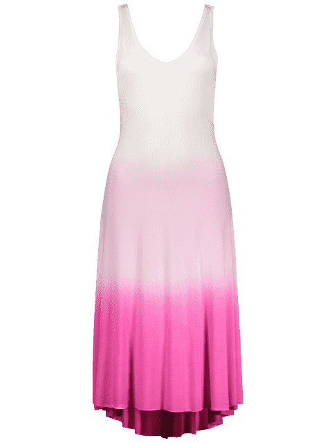 outfits Pink Ombre Color Plunging Neck Sleeveless Sundress - PINK L Mobile