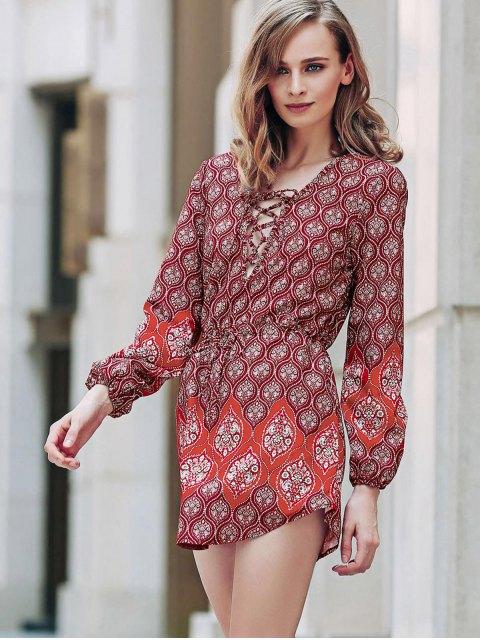 ladies Loose Digital Print Round Neck Long Sleeve Dress - RED XL Mobile