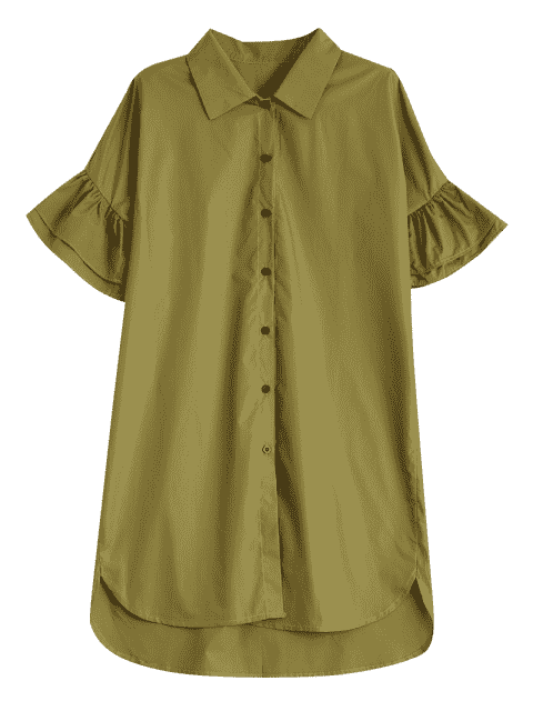 sale Button Up Tiered Flare Sleeve Dress - CELADON S Mobile