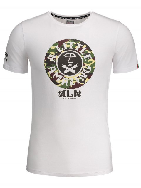 latest Graphic Print Short Sleeve Camouflage Tee - WHITE 2XL Mobile