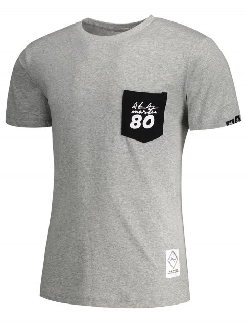 chic Short Sleeve Pocket Patch Letter T-shirt - GRAY 3XL Mobile