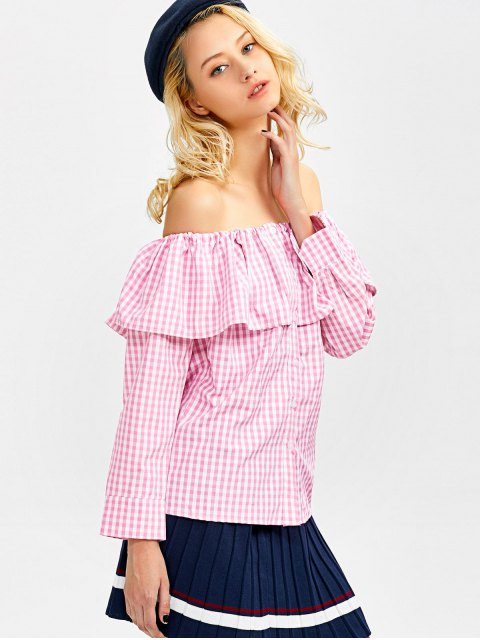 sale Gingham Check Off The Shoulder Blouse - PINK M Mobile