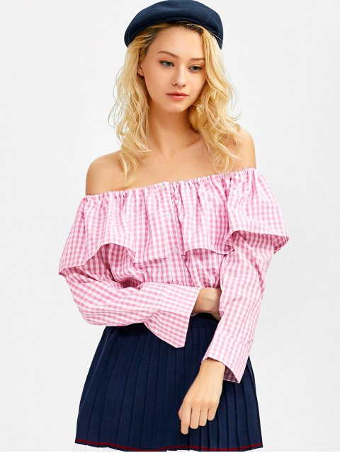 affordable Gingham Check Off The Shoulder Blouse - PINK S Mobile