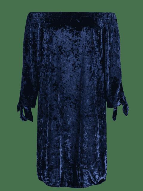 unique Off Shoulder Pleuche Dress - BLUE S Mobile