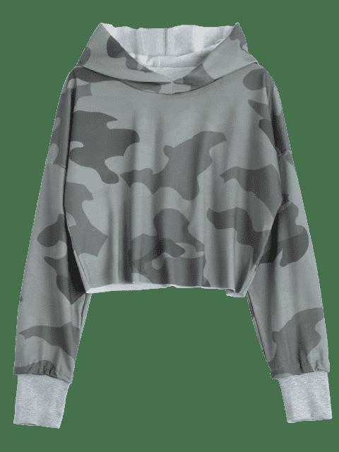 womens Drop Shoulder Camouflage Crop Hoodie - CAMOUFLAGE M Mobile