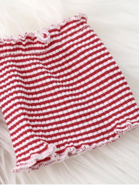 latest Striped Off Shoulder Mini Bodycon Dress - RED AND WHITE ONE SIZE Mobile