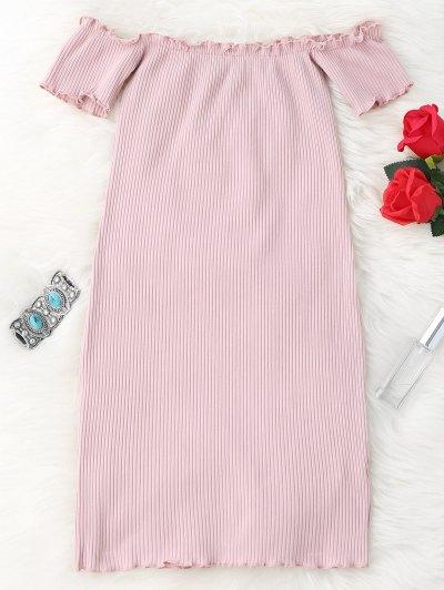 Ruffles Hors épaule Mini Bodycon Dress - Rose PÂle