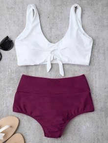 Knotted High Waisted Ruched Bikini Set - Purplish Red M