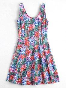 U Neck Floral Print Sleeveless Dress - Floral M