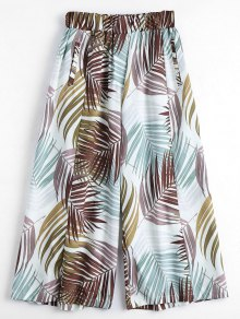 Leaves Print Culotte Pants - Multi M