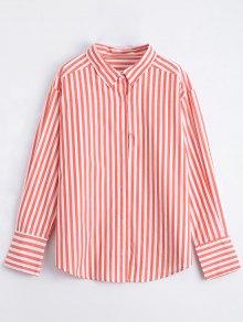 Button Up Striped Longline Shirt - Orange S