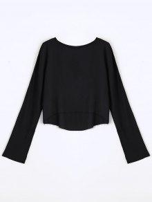 Long Sleeve High Low T-shirt - Black M