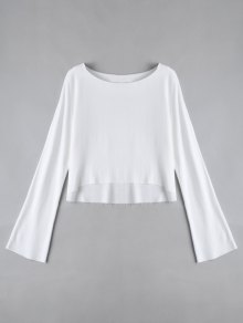 Long Sleeve High Low T-shirt - White S