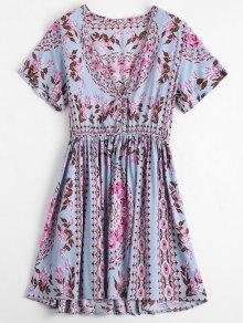 Plunging Neck Floral Print Dress - Floral L