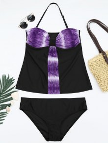 Padded Bandeau Tankini Bathing Suit - Purple 2xl