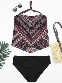 Tribal Print Padded Bandeau Tankini Bathing Suit - Multicolor 2xl