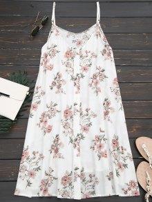 Floral Button Up Slip Dress - Floral M