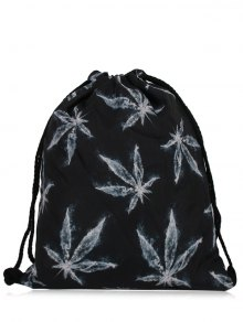 Nylon Printed Drawstring Bag - Black Grey