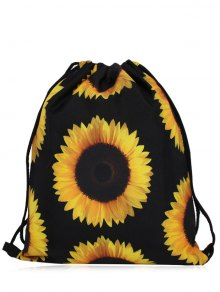 Nylon Printed Drawstring Bag - Yellow And Black