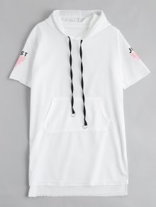 Letter Print Slit Drawstring Hooded Dress - White M