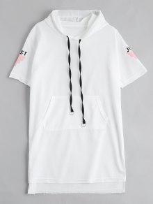 Letter Print Slit Drawstring Hooded Dress - White L