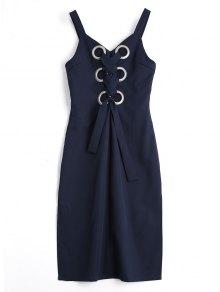 Metallic Rings Lace Up Slit Midi Dress - Purplish Blue M