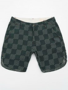 Mens Embroidered Cotton Bermuda Shorts - Green 30