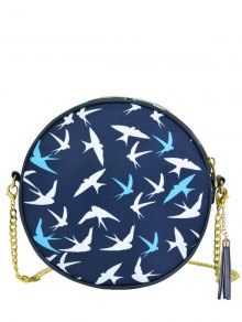 Chain Tassel Canteen Cross Body Bag - Deep Blue