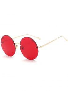 Round Semi-rimless Sunglasses - Bright Red