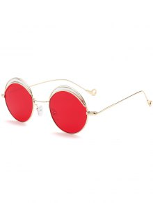 Round Two-tone Splicing Hollow Out Leg Sunglasses - Bright Red