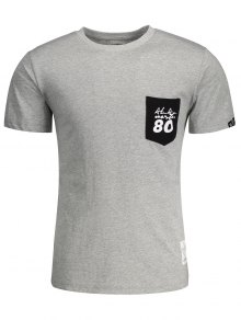 Short Sleeve Pocket Patch Letter T-shirt - Gray L