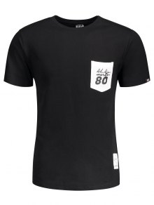 Short Sleeve Pocket Patch Letter Tee - Black L