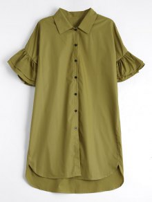 Button Up Tiered Flare Sleeve Dress - Celadon M