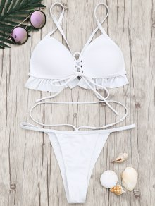 Frilled Molded Cup Thong Bikini Set - White M