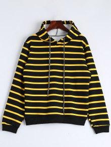Drawstring Striped Longline Hoodie - Stripe Xl