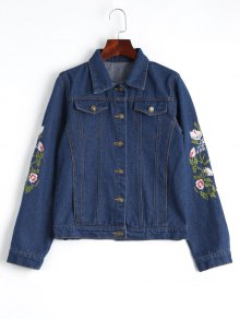 Button Up Floral Embroidered Denim Jacket - Deep Blue M