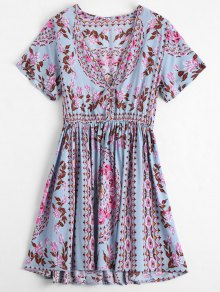 Plunging Neck Floral Print Dress - Floral M