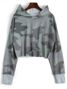 Drop Shoulder Camouflage Crop Hoodie - Camouflage S