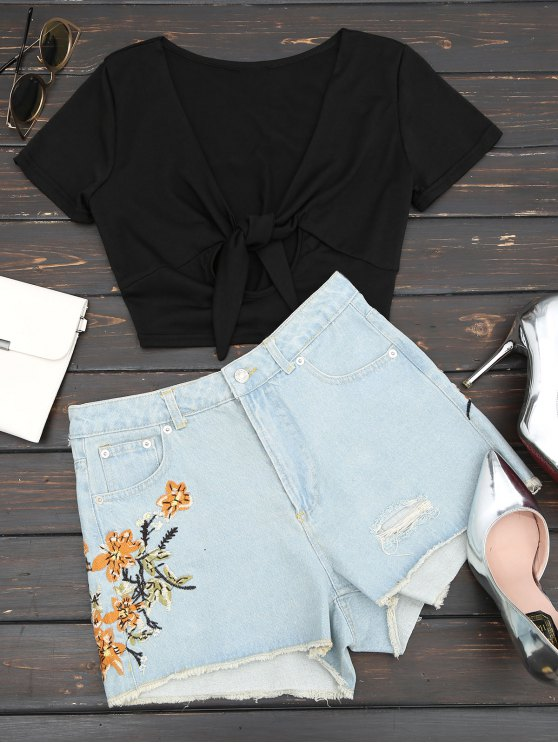 Pantalones cortos bordados florales del dril de algodón de los cutoffs destruidos - Denim Blue L