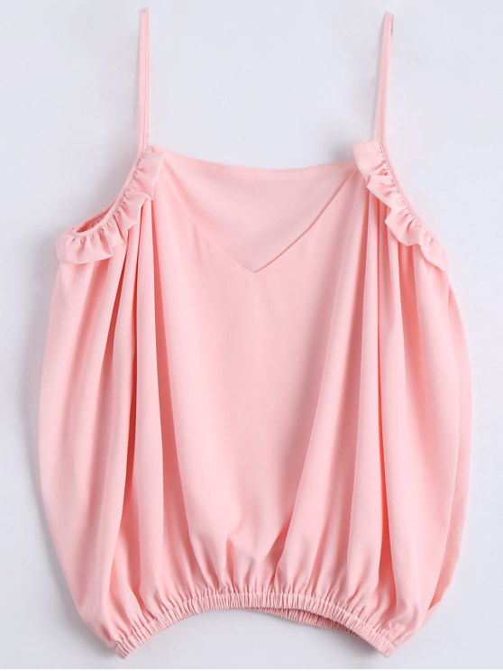 women's Slit Cold Shoulder Cami Ruffles Blouse - SHALLOW PINK XL